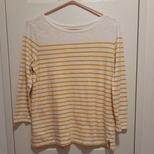 Old Navy Ladies White & Yellow Striped Long-Sleeved T-Shirt M